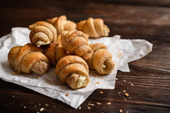 Whole meal Croissants stuffed with Feta cheese Royalty Free Stock Image
