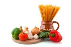 Whole meal spaghetti Stock Photos