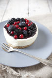 Whole mini cheesecake with blackberries, blueberries and red currant on plate Stock Photos