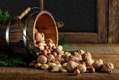 Whole Mixed Nuts Wooden Bucket stock images