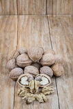 Whole nuts and peeled Royalty Free Stock Photos