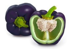 Purple Bell Pepper. Whole and one cut in half Bell Peppers Capsicum annuum, isolated on white. The main colors of bell peppers are green, yellow, orange and red Stock Photography