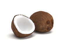 Whole and Open Coconut Fruit on White Background Stock Images