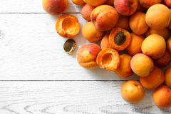 Whole orange apricots with red blush, from above, space for text Stock Photos