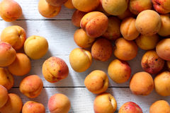 Whole orange apricots with red blush as a background from above. Royalty Free Stock Photos