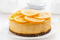 Whole orange cheesecake Stock Image