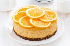 Whole orange cheesecake, top view Royalty Free Stock Image