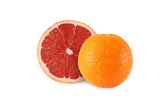Whole orange and cut grapefruit isolated. On white background Stock Photo
