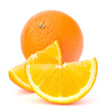 Whole orange fruit and his segments or cantles Royalty Free Stock Photography