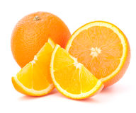 Whole orange fruit and his segments or cantles Royalty Free Stock Photos