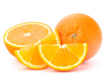 Whole orange fruit and his segments or cantles Stock Photography
