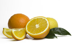 Whole orange fruit and his segments or slices Stock Photo