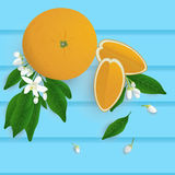 Whole orange fruit with leaf, slice and flower on wood backgroun Stock Photos