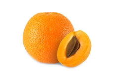 Whole orange and half apricot with stone isolated. On white background royalty free stock photography