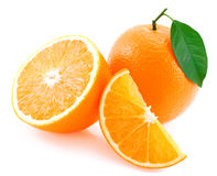 Whole orange, half of orange and orange segment. Royalty Free Stock Image