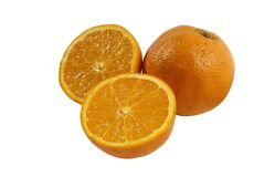 Whole orange and halves Royalty Free Stock Photos