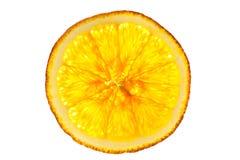 Whole orange slice isolated on white background back lighted Stock Photography