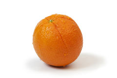 Whole orange with water drops on white Royalty Free Stock Photos
