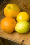 Whole organic oranges, lime and lemon Royalty Free Stock Photos