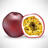 Whole passion fruit and sliced fruit Royalty Free Stock Image