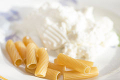 Whole pasta and ricotta Stock Photo