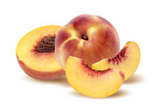 Whole peach, half and quarters  on white background Royalty Free Stock Photos