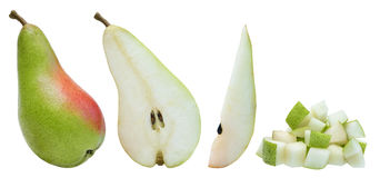 Whole pear, half, slice and diced over white Royalty Free Stock Images
