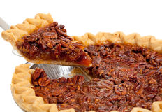 A whole pecan pie on white Stock Photos