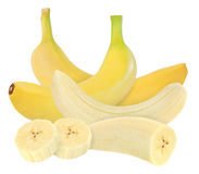 Whole and peeled banana isolated on white with clipping path Stock Photography