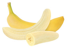Whole and peeled banana isolated on white with clipping path Royalty Free Stock Images