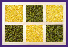 Whole and peeled mung beans Royalty Free Stock Image