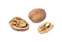 Whole and peeled walnuts Royalty Free Stock Image