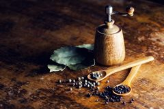 Whole pepper grains and a grinder Royalty Free Stock Photography
