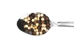 Whole Peppercorns. Spoonful of whole black and white peppercorns stock images