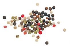 Whole peppercorns, red, white, black and green Royalty Free Stock Images