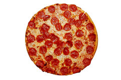 Whole Pepperoni Pizza. Isolated image with clipping path Royalty Free Stock Images