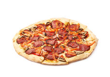 Whole pepperoni pizza isolated Stock Photography