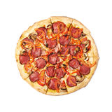 Whole pepperoni pizza isolated Royalty Free Stock Photos
