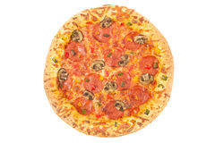 Whole pepperoni pizza top view on white Royalty Free Stock Photo