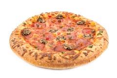 Whole pepperoni pizza on white Stock Photos