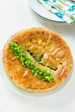 A whole pie on a white plate Royalty Free Stock Photos