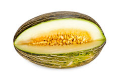 Whole Piel de Sapo melon sliced Stock Photography