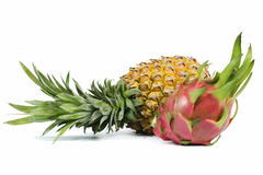 Whole pineapple and dragon fruit Stock Photo