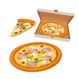 Whole pizza capricciosa in open white box and slice. Isolated  flat illustration for poster, menus, logotype, brochure, web Royalty Free Stock Photos