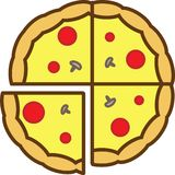 The whole pizza colored icon is sliced into 4 pieces with mushrooms, tomatoes and cheese vector illustration