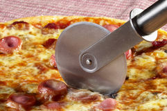 Whole pizza fragment Royalty Free Stock Photography