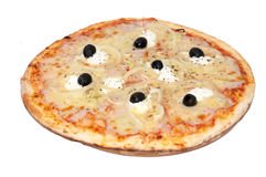 Whole pizza with onion rings and black olives Stock Photos