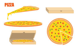 Whole pizza and slices with boxes. Flat style illustration isolated Royalty Free Stock Photography