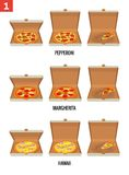 Whole pizza and slices of pizza in open and semi-open white box. Pepperoni, Hawaiian, Margherita. Vector isolated flat Stock Photo