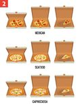 Whole pizza and slices of pizza in open and semi-open white box. Pepperoni, Hawaiian, Margherita. Vector isolated flat Royalty Free Stock Images